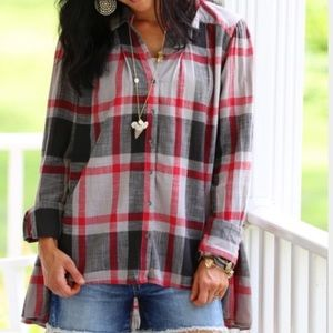 Free People Preppy In Plaid Shirt *Red/Gray